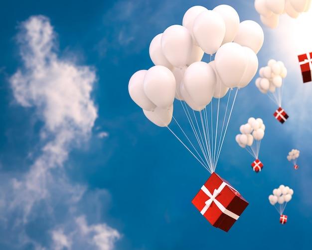 Coffret rouge et ballons dans le ciel et l'espace de la copie pour votre texte. concept du nouvel an, rendu 3d