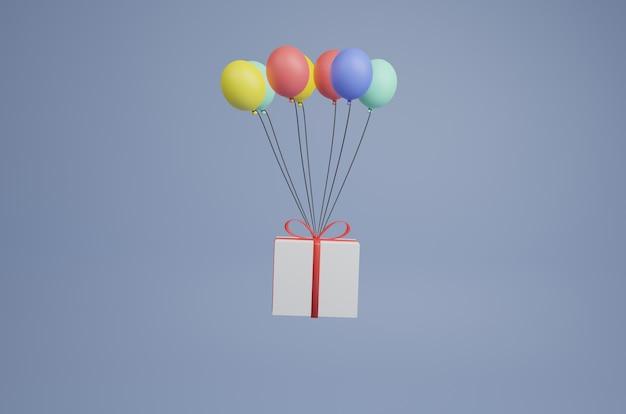 Coffret volant avec des ballons rendu 3d