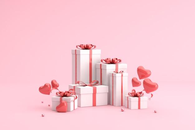 Coffrets cadeaux avec des ballons en forme de coeur.