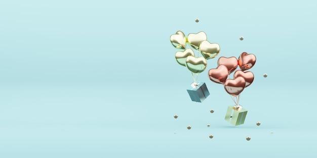 Coffrets cadeaux et ballons ornements de noël boule de décoration nouvel an illustration 3d