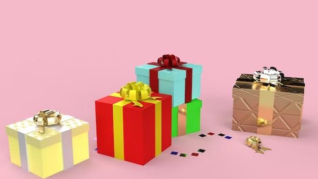 Les coffrets cadeaux sur fond rose image de rendu 3d pour le contenu de la célébration.
