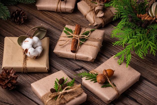 Coffrets cadeaux de noël en papier kraft