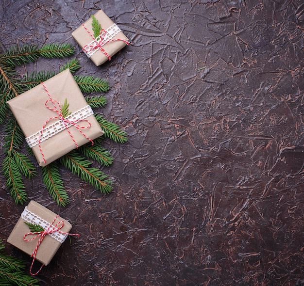 Coffrets-cadeaux de noël en papier kraft