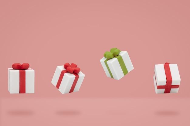 Coffrets cadeaux de noël vole sur fond rose, style minimal.
