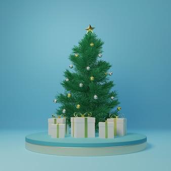 Coffrets cadeaux de rendu 3d autour de l'arbre de noël