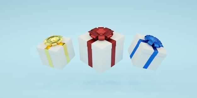 Coffrets cadeaux avec ruban brillant sur rendu 3d bleu