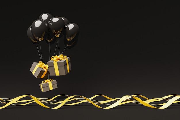 Coffrets cadeaux sombres avec des rubans dorés flottant dans l'air avec des ballons noirs et des rubans ondulés sur le sol