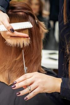 Le coiffeur coupe des bouts de cheveux roux