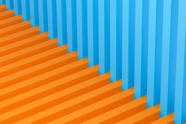 Coin bleu-orange composé de lignes géométriques simples. motif symétrique créatif lumineux, texture. mur minimaliste reproductible rendu 3d.