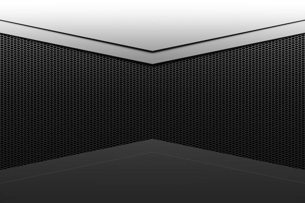 Coin d'illustration 3d d'une pièce rectangulaire en nid d'abeille noir, pièce en noir et blanc.