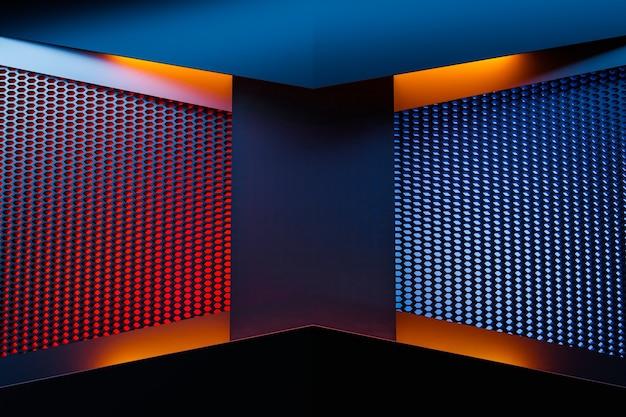 Coin d'illustration 3d d'une pièce rectangulaire en nid d'abeille orange. chambre noire, bleue et rouge