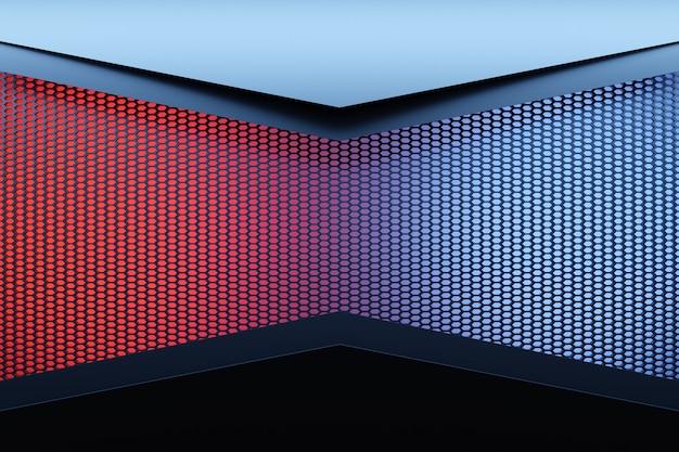 Coin d'illustration 3d d'une pièce rectangulaire en nid d'abeille orange. chambre noire, bleue et rouge.