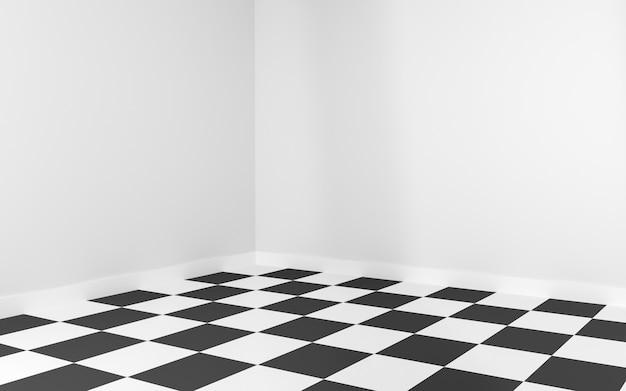 Coin de la pièce blanche avec damier au sol pour maquette. rendu 3d.