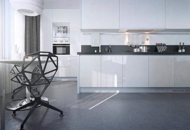 Coin repas contemporain avec une table et deux chaises dans la cuisine du studio