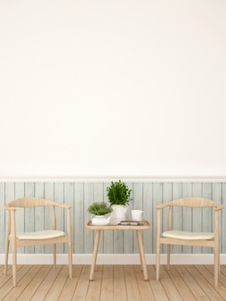 Coin repas dans un café ou une salle à manger - rendu 3d