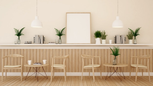 Coin repas dans un restaurant ou un café sur le thème du bois - rendu 3d
