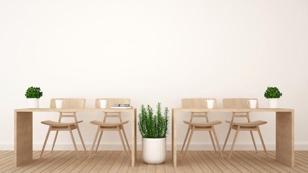Coin repas ou espace de travail dans un bureau ou un café - rendu 3d