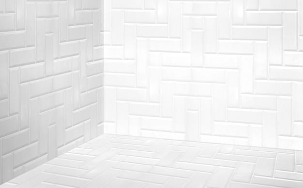 Coin vide blanc mur de carreaux modernes et salle de perspective au sol