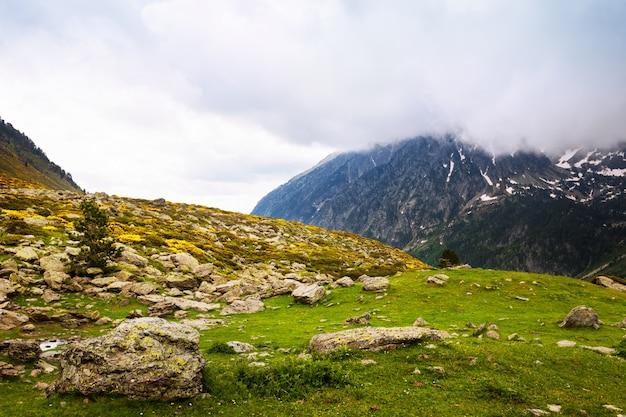 Col de montagne en journée nuageuse