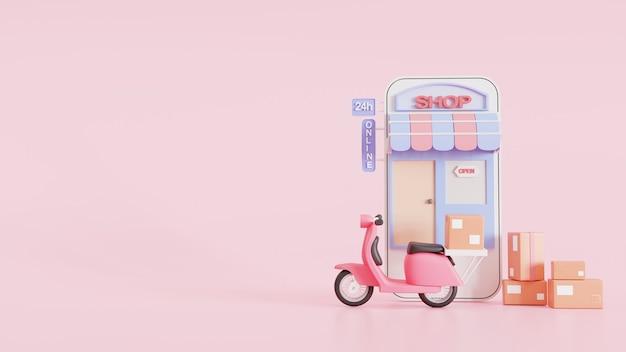Colis de livraison rapide en scooter sur un téléphone mobile de magasin. forfait de commande en e-commerce par l'application. application de messagerie de suivi. concept. illustration de rendu 3d.