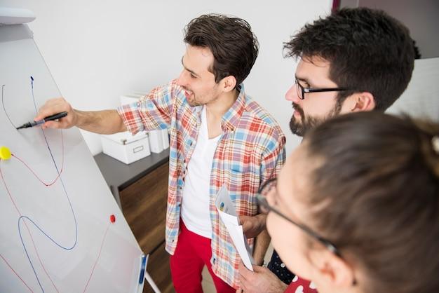 Collaborateurs travaillant sur la stratégie de l'entreprise
