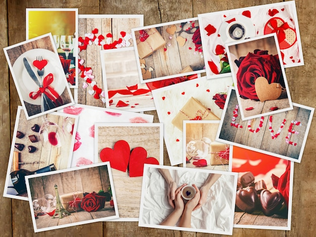 Collage d'amour et de romance. mise au point sélective.