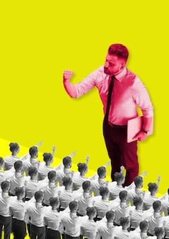 Collage d'art moderne contemporain sur l'homme d'affaires avec concept de démarrage de mallette