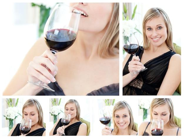 Collage d'une belle femme tenant un verre de vin rouge dans le salon