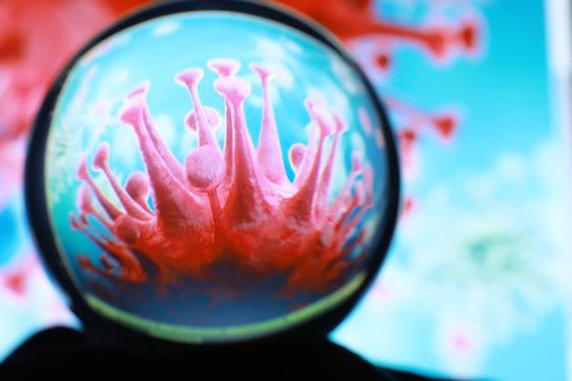 Collage de cellules du virus de la grippe covid-19 dans le sang au microscope. cellules virales ou bactéries au microscope. gros plan sur les microbes microbes germes. macrophotographie.
