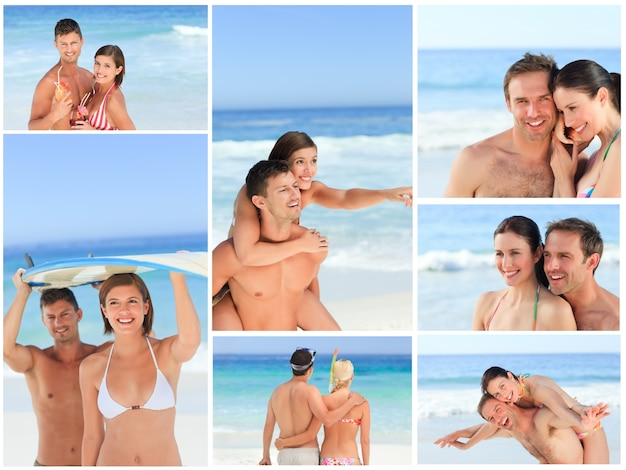 Collage de charmants couples s'amusant sur une plage