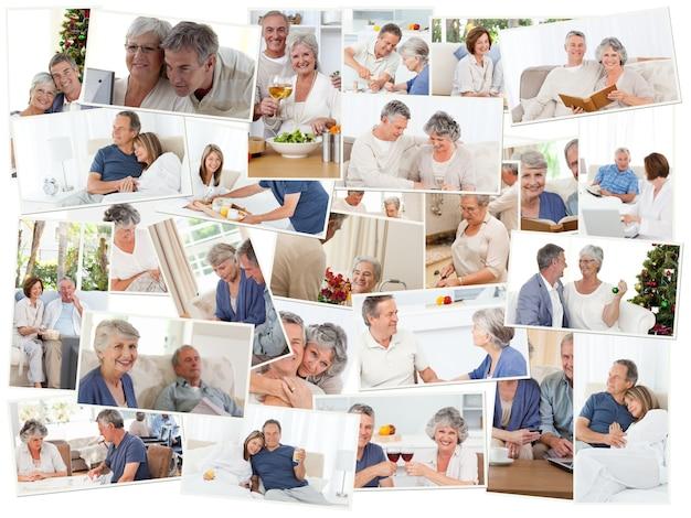 Collage de couples de personnes âgées passant du temps ensemble