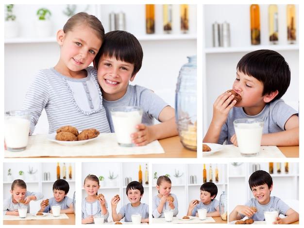 Collage d'enfants ayant une collation