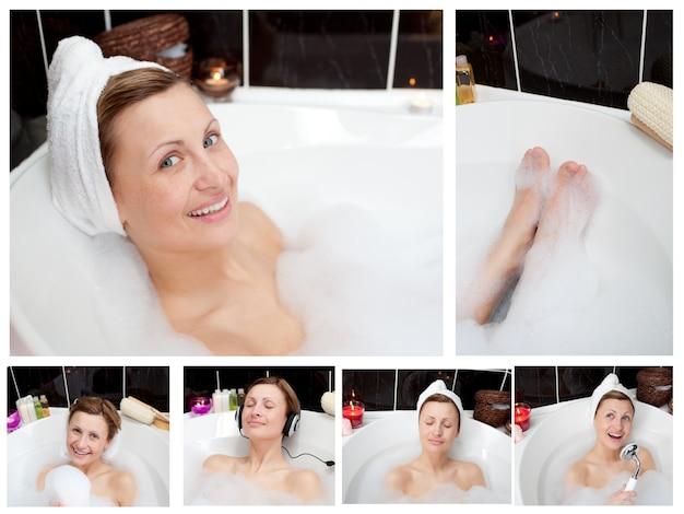 Collage d'une femme dans une baignoire