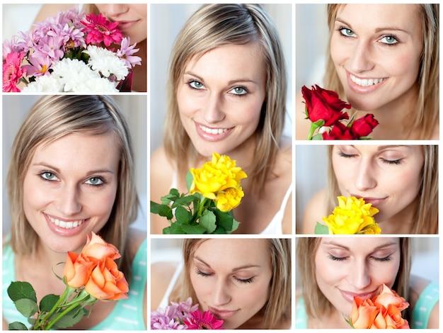 Collage d'une femme avec plusieurs types de fleurs