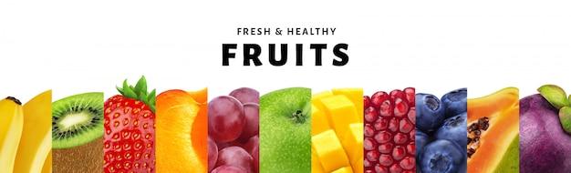 Collage de fruits isolé sur fond blanc avec espace de copie, gros plan de fruits frais et sains et baies