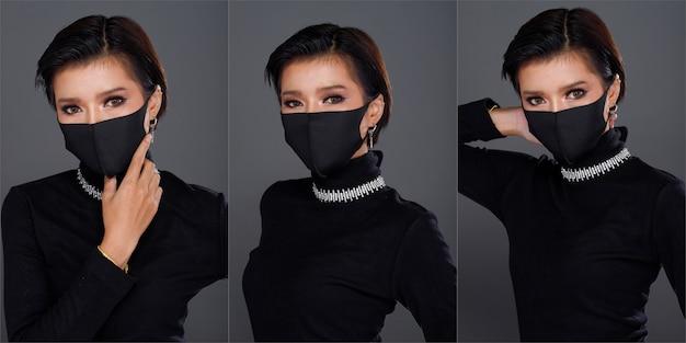 Collage group half body portrait of 20s asian woman cheveux noirs robe à col roulé noir. fashion girl pose de nombreux looks, cosmétiques sur les yeux, porte un masque protecteur sur fond gris isolé