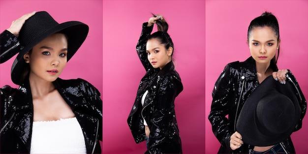 Collage group pack of fashion jeune femme asiatique maigre porte une veste à paillettes noires et un look glamour attrayant, et ressent un sourire amusant et joyeux. studio éclairage fond rose copie espace isolé