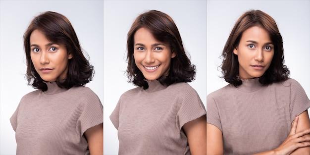 Collage group pack of fashion jeune mère des années 30 indienne / femme asiatique black curl cheveux courts beau maquillage robe violette posant attrayante de nombreux regards sourire. studio éclairage fond blanc isolé