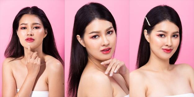 Collage group pack of fashion young 20s asian woman cheveux noirs belle robe chemise de mode posant un look glamour attrayant. studio éclairage fond rose copie espace isolé