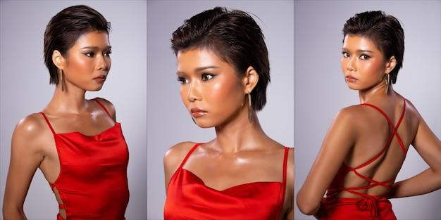Collage group pack portrait moitié du corps de la mode jeune peau bronzée mince femme asiatique cheveux courts porter une robe de robe rouge, stand pose dans des poses différentes. studio fond gris