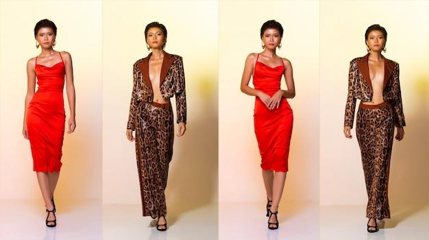 Collage group pack sur toute la longueur de la mode jeune peau bronzée mince, femme asiatique, cheveux courts, robe rouge et pantalon de veste à motif de peau de tigre léopard, marchant vers l'avant avec des talons hauts. studio fond jaune