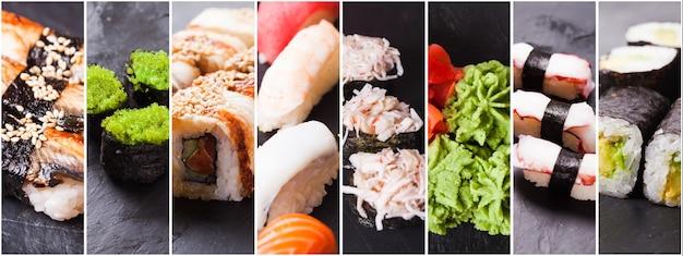 Collage de huit photos de nigiri sushi et rouleaux