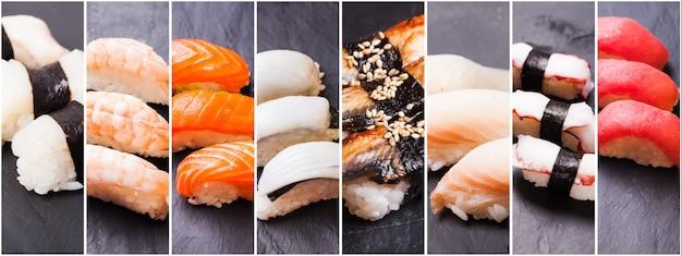 Collage de huit photos de sushi nigiri