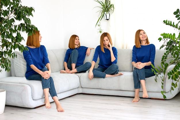 Collage jeune belle fille aux cheveux rouges dans des vêtements bleus à la maison avec des plantes d'intérieur dans une humeur différente et une variété d'émotions.