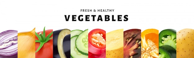 Collage de légume isolé sur blanc avec espace de copie, gros plan de légumes sains