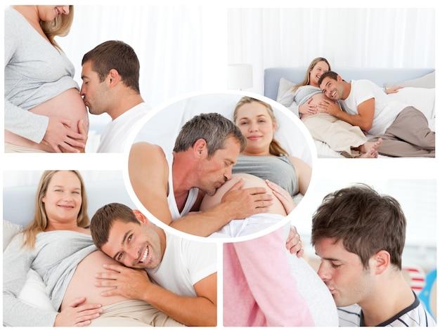 Collage de maris donnant un doux baiser à leur femme enceinte