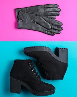 Collage de minimalisme de chaussures et accessoires pour femmes à la mode sur fond coloré. bottes noires, gants en cuir, parapluie. vue de dessus