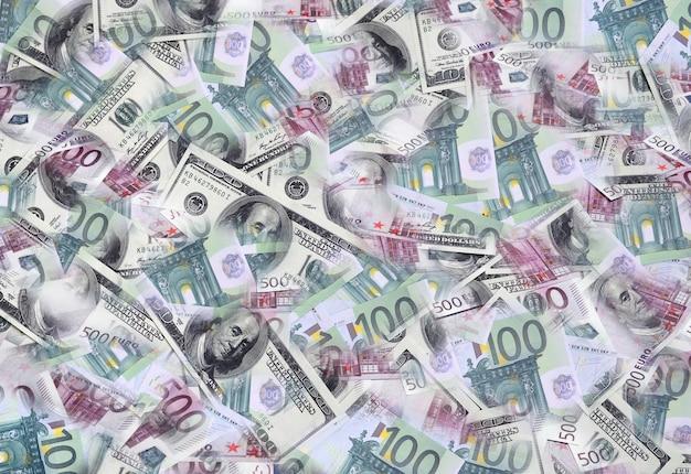 Un collage de nombreuses images de billets en euros