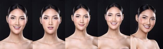 Collage pack group of asian woman après avoir appliqué le maquillage. pas de retouche, visage frais avec une peau agréable et lisse. studio éclairage fond noir foncé