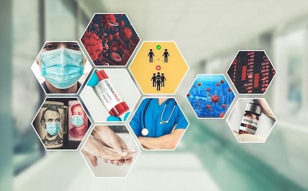 Collage de photos de résumé d'histoire de coronavirus ou covid 19